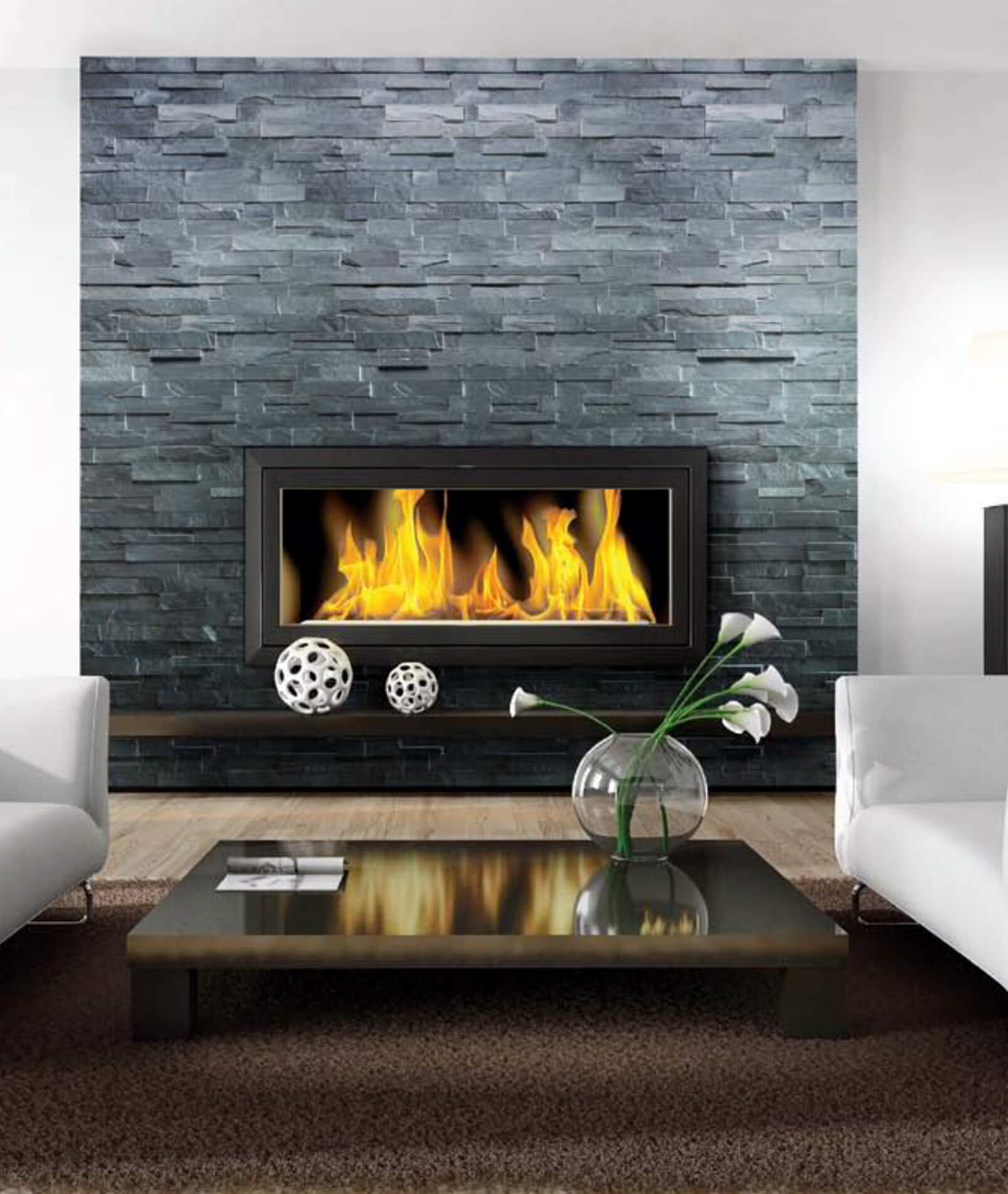 Carbon Ledgerstone | Byrd Tile Living Areas
