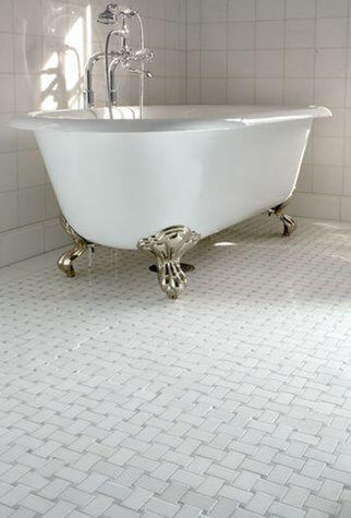Dog Bone Basketweave with Grey Dot | Byrd Tile Bathrooms