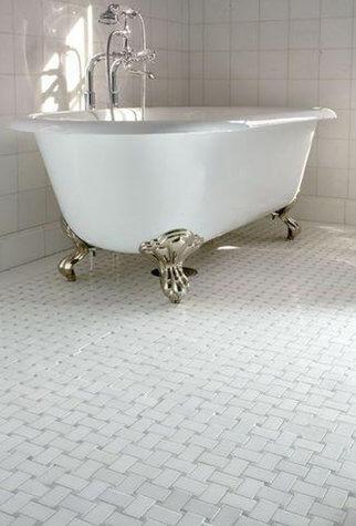 Dog Bone Basketweave With Grey Dot Byrd Tile Bathrooms