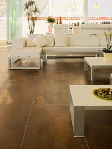 Mediterranean-inspired tile that has rustic and metallic finish