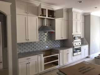Local Install 3x9 white glass   Byrd Tile